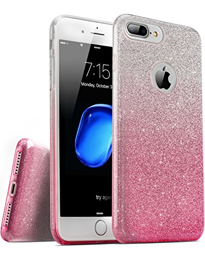 iPhone 7 Plus iPhone 8 Plus Case, TOZO® SHINY Series [Bling Crystal] Ultra Thin Sparkle Premium 3 Layer Hybrid Semi-transparent Lightweight / Exact Fit / Soft Case for iPhone 7 Plus iPhone 8 Plus 5.5  Shiny Shadow Pink
