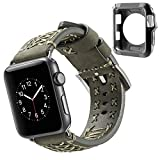 Qianyou Für Apple Watch Armband mit Hülle, 42mm Soft Leder Sport Ersatz Uhrenarmbänder Uhrenarmband mit Silikon Case für Apple Watch Series 1 Series 2 Series 3,Sport,Edition,Nike+,Grün