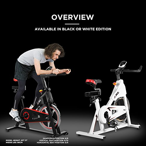 JLL® IC300 Indoor CyclingTM exercise bike, Fitness Cardio workout with adjustable resistance,18Kg flywheel which allows a smooth ride,Ergonomic adjustable handle bar and fully adjustable seat.12 months Home Warranty warranty (Black)