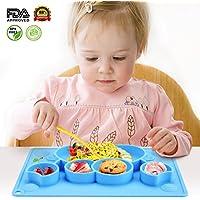 Schale Set Kenley Silikon Platzdeckchen Tischset f/ür Baby und Kinder Abwaschbar Rutschfest Teller BPA Frei