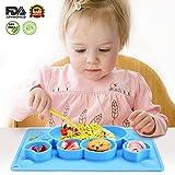 Charminer Baby Teller,Tischset Kinder abwaschbar Rutschfester mit Saugnapf,Anti-Rutsch trennende Platte Platzset aus Silikon Kunststoff Teller set tragbare Schale mit FDA Zeugnis zugelassenes Geschirr