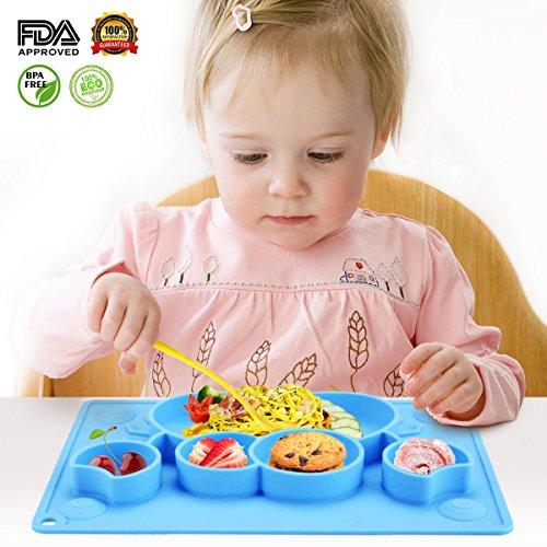 Charminer bambini tovaglietta piatti in silicone tappetini antiscivolo fda e bpa portatile per neonati tovaglietta con piatto ventosa piastra divide, regalo svezzamento battesimo