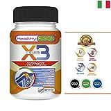 X3 - Curcuma Pura con Collagene Idrolizzato, Acido Ialuronico, Condroitina, Glucosamina, MSM, Calcio e Vitamina D3 - Elimina i dolori e la infiammazione nelle articolazioni e muscoli - 90 capsule