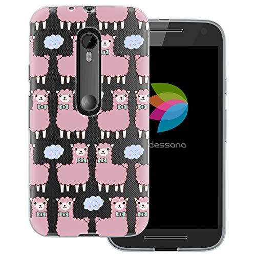 dessana Süße Tiere transparente Schutzhülle Handy Case Cover Tasche für Motorola Moto G3 Lama Wolken (Handy Cover Für G3)