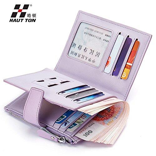 Hautton® Herren Brieftasche Leder Geldbörse Mode Brieftasche, Portemonnaie, Börse, Geldbeutel Grosse Kapazität Schwarze QB119 purple