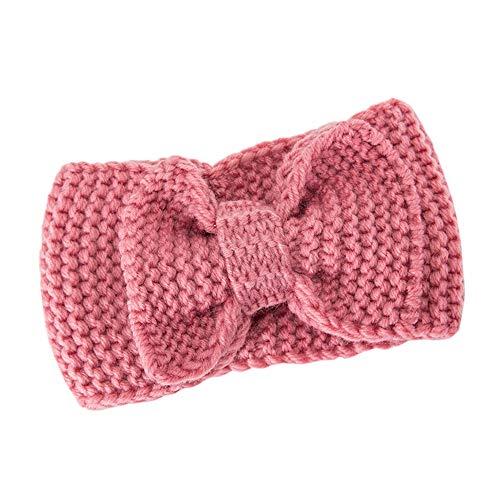 COZOCO 2019 Einfaches und nützliches Stirnband Frauen-Haar-Ball-strickendes Stirnband-elastisches handgemachtes Bogen-Entwurfs-Haarband Rosa 20 cm x 11 cm