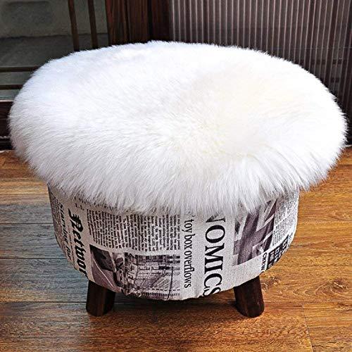 Kunstfell Pelz Stuhl, Sitz Pad Shaggy Bereich Teppiche für Schlafzimmer Sofa Boden Home Decorator Teppiche Kinder Spielen Teppich Matte Teppich,Weiß,45cm runde -