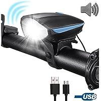 USB Fahrradlampe Solar LED Fahrradlicht Fahrradbeleuchtung Scheinwerfer Mit Hupe