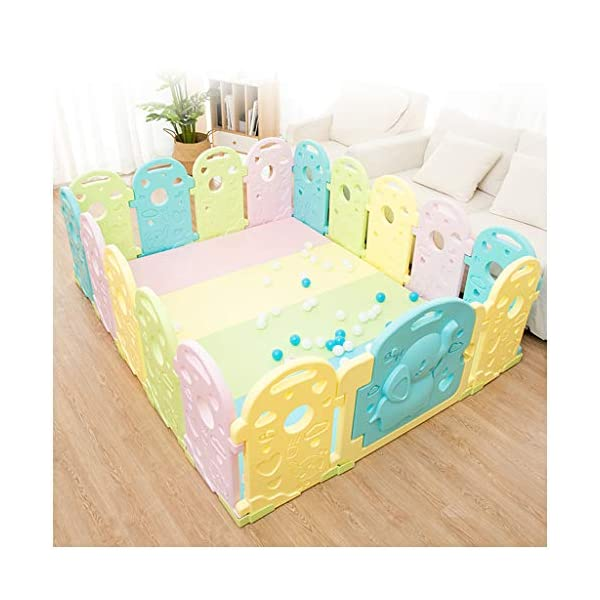 Baby Playpen - Children'S Safety Toys Crawling Mat - Activity Center - Environmental Hdpe - Suitable For 0-6 Children-11 Activity Panel - Rugged - Waterproof  ♥ You can use and combine all the fences to create entertainment for your child anywhere in the home. ♥ It can be changed into different shapes. You can change the frame according to your baby's preferences and bring a different feeling every day. ♥ Can be used as a fence or protective barrier, flexible mounting options, very simple assembly and unlimited scalability. 5