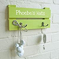 Kids Personalised Coat Rack - 2 Hooks - Colour Rustic Pine