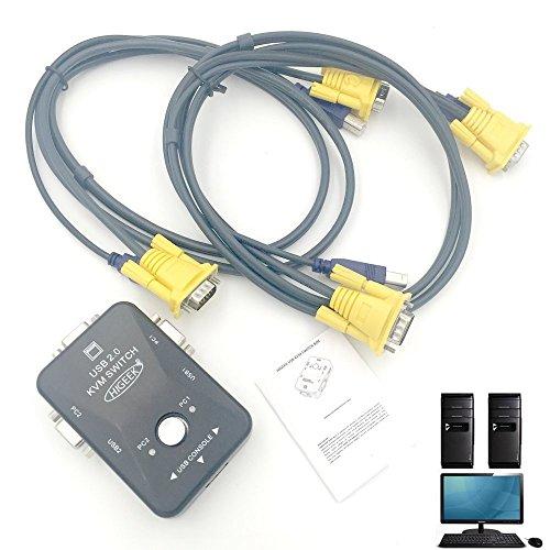 HIGEEK KVM Switch Box USB HD con Cavi VGA+USB Per PC Monitor/Tastiere/Mouse/Linux/Mac 2 Porte Ris. Max 1920x1440 HDMI Compatibile