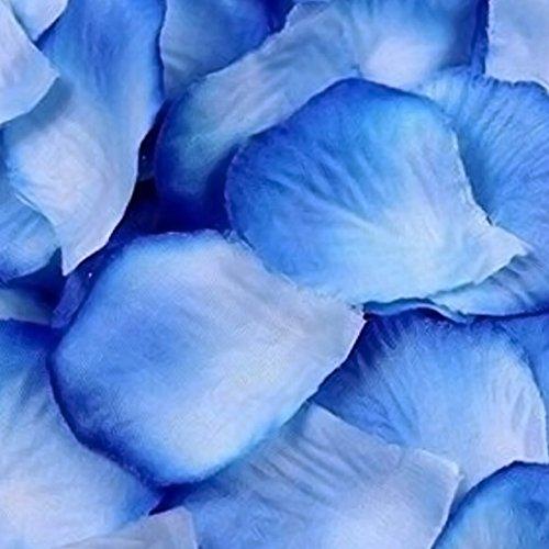 Jooks 1000 Stück Rosenblüten Rosenblätter Blumenblätter aus Seide Kunstblumen für Hochzeit Feier Deko Valentinstag romatische Überraschung (Blau und weiß)