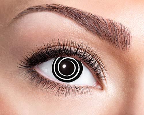 Zoelibat Farbige Kontaktlinsen in Markenqualität, Wochenlinsen, 2 Stück, BC 8.6 mm / DIA 14.5 mm, Spiral, für Halloween, Fasching, Karneval, schwarz/weiß