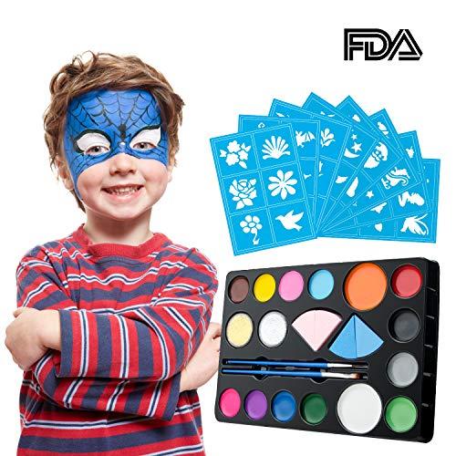 Kit de pintura de la cara de para niños y adultos, paleta de colores vibrantes Sistema de pintura de la cara Maquillaje corporal para, Semana Santa, fiestas temáticas, cosplay, baile de disfraces