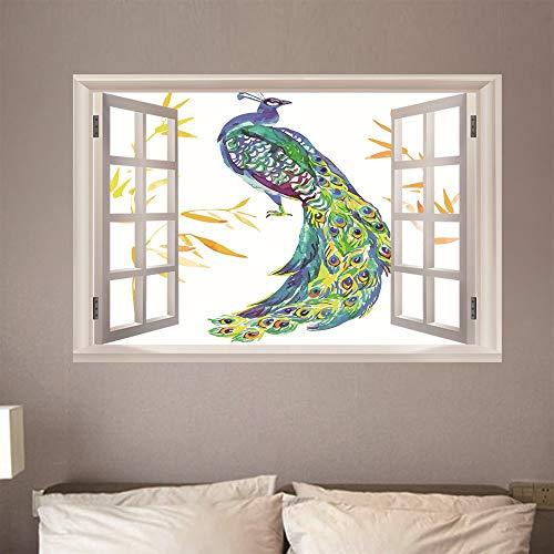 3D Wandaufkleber Fenster Gefälschte Aufkleber Ansicht Aufkleber Poster Dekorationen für wohnzimmer bad schlafzimmer hause familie dekor pfau 50 x 70 cm (Pfau Dekor Bad)