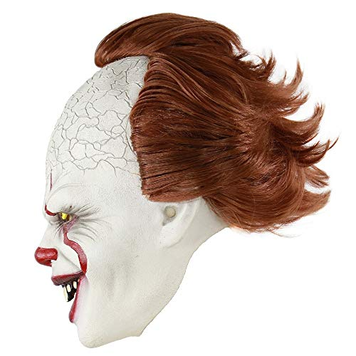 WWVAVA Maske Maske Pennywise Horror Clown Joker Maske Clown Maske Halloween Cosplay Kostüm Requisiten, 1