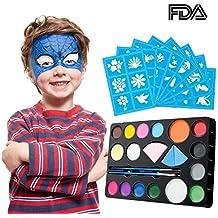 Kit de pintura de la cara de para niños y adultos, paleta de colores vibrantes