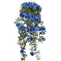 Colgante Artificial Rosa Flor Plantas Romatic Decoración Pared Boda Partido Hogar - Azul