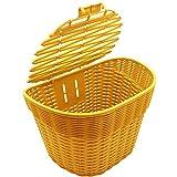 Ljourney Fahrradkorb Vorne - Fahrrad Einkaufskorb Weidenkorb, Waschbare Bettwäsche Mit Wasserfestem Deckelgriff