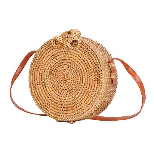 (Howoo Sonnenblume Design Rund Rattan-Basket-Tasche,Strohbeutel,Handgefertigte Tasche,Weben Tasche,Handgewebte Tasche,Schultertasche,Umhängetasche für Frauen/Mädchen)