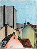 "Original Pastellzeichnung ""Die Dächer Berlins 8"" von Ave Igor, Pastell auf Papier, Signiert, Handgemaltes 