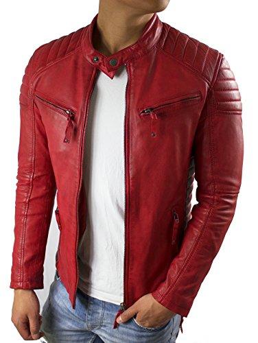 Dante - Herren Echt Biker Lederjacke Rot