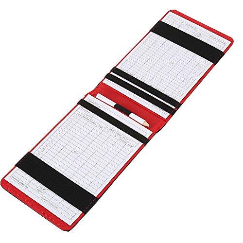 Tarjeta de Golf Counter Contador de Puntaje de Golf Accesorios Funda de Cuero PU con Tarjetas de Puntuación y Lápiz(negro)