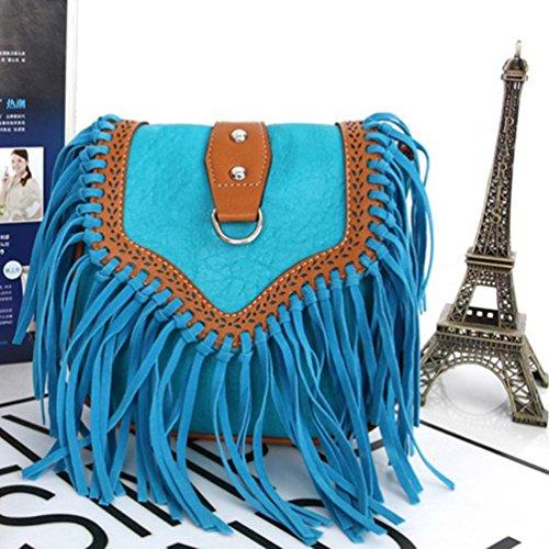 YouPue Damen Umhängetasche Kleine Handtasche Pu-Leder Clutch Tasche Retro Tragetaschen Kuriertasche Schultasche Himmelblau