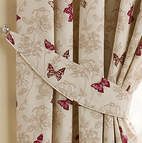 Homescapes Luxury Red Cream Curtain Tie Backs Set Of 2 Small Butterfly  Print Complementing Cotton Pencil Pleat Curtains