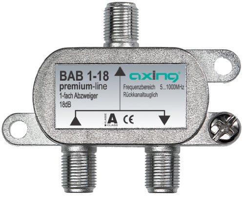 Axing BAB 1-18 BK-1-Fach Abzweiger mit 18 dB Abzweigdämpfung (5-1000 MHz)