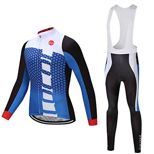 Coconut Ropamo Spring Autumn Men Cycling Jersey Set Road Bike Suit Long Sleeve Jersey + Bib Tights Padded