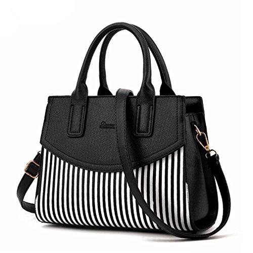 LDMB Damen-handtaschen PU Leder Umhängetaschen Top-Griff Handtasche Tasche einfach Geldbörse Damenmode Cross Body Bag Black