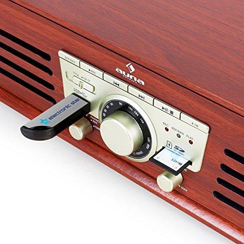 auna TT-92B Plattenspieler Schallplattenspieler (USB-SD-Slot, AUX-IN, UKW Radio, Stereo-Lautsprecher, Holzfurnier) braun - 5