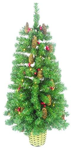 Christmas Concepts 3ft (90cm) Verde Pre Illuminato al muro Albero di Natale con coni e bacche rosse