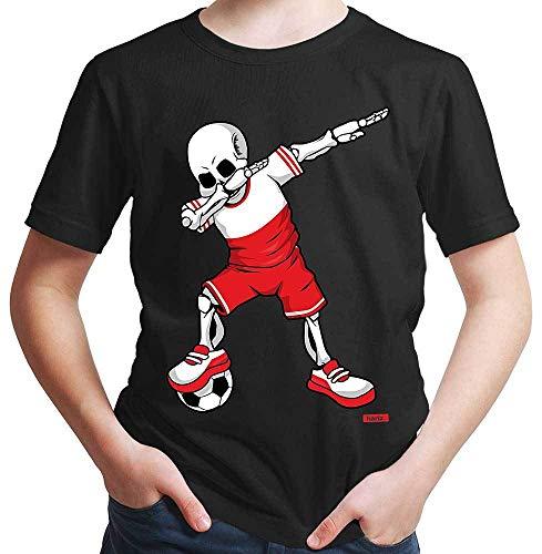 Polen Kostüm Jungen Für - HARIZ Jungen T-Shirt Fussball Dab Skelett Polen Trikot Mannschaft Inkl. Geschenk Karte Schwarz 164/14-15 Jahre