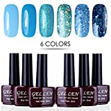 Gellen Vernis Gel Semi Permanent - Vernis à Ongles Vernis UV LED Gel Nail Polish Varnish Soak Off Manucure 6X8ml Nail Art Lot #WP003