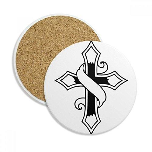 (DIYthinker Religion Christentum Glaube Kirche Stein Getränk Keramik-Untersetzer für Becher-Schalen-Geschenk 2pcs Schwarz)
