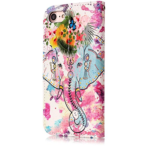 iPhone 7 Coque Pu Folio avec Bling Diamant,iPhone 8 Etui Portefeuille Magnétique,JAWSEU Homme Femme élégant Relief Coloré Motif Leather Pu Wallet Case Cover Brillante Glitter éclat Strass en Cuir Synt fleur éléphant