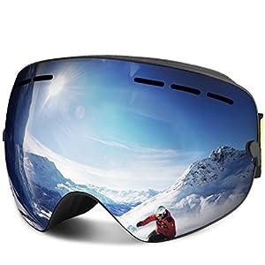 FYLINA Skibrille, Outdoor-Sport Snowboard-Schutzbrillen mit Anti-Nebel UV-Schutz Austauschbare sphärische rahmenlose Linse, Winddicht für Motorrad Skifahren Skaten (Silber)