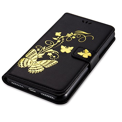 Goldene Blumen Schmetterling geprägt Muster Solid Color PU-Leder Tasche Flip Magnetische Silikon-Cover Wallet Stand Case mit Handschlaufe für iPhone7 Plus ( Color : Golden , Size : IPhone 7 Plus ) Black