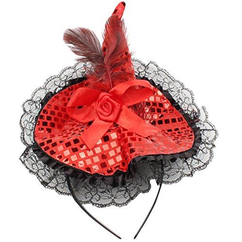 Chytaii Haarband Halloween mit Hexenhut Pailletten Spitze Geschenk -