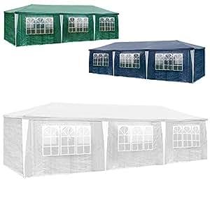 TecTake Gazebo tendone tenda padiglione da giardino per eventi il campeggio festa della birra con parti lateralin 3x9m 9x3m - disponibile in diversi colori - (Bianco)