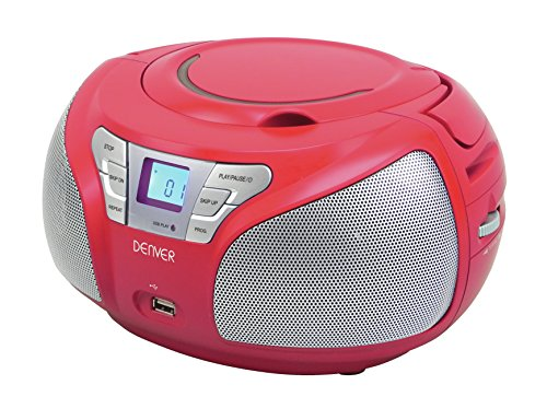 Denver TCU-206 Boombox (USB, FM, AUX-in, CD-Player) rot