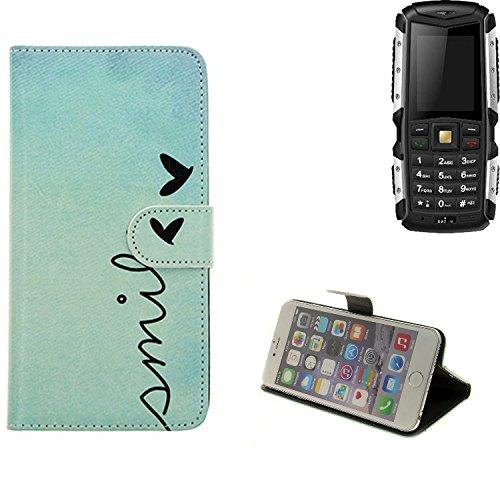 K-S-Trade® Für Jiayu F2 Hülle Wallet Case Schutzhülle Flip Cover Tasche Bookstyle Etui Handyhülle ''Smile'' Türkis Standfunktion Kameraschutz (1Stk)
