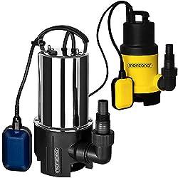 Wasserpumpe Tauchpumpe Tauchdruckpumpe | 650 Watt | 11.500 l/h | 10 m Anschlußkabel | Farbe: Schwarz/silber