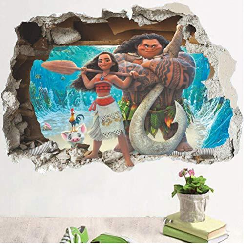 qwerdf Wandaufkleber Moana Maui Neue Selbstklebende DIY Wohneinrichtung Kinderzimmer 3D Aufkleber Wandbild 60 X 90cm Stein