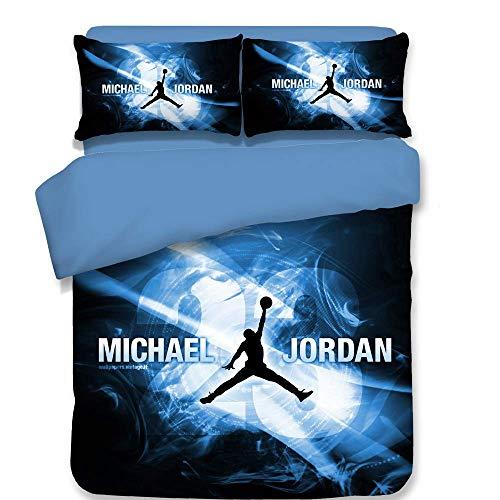 3D Bettwäscheset Machst du Sport? Michael Jordan Drucken Heimtextilien für Teen Boys Kids Bettwäsche Set mit Reißverschluss (1 Bettbezug + 2 Kissenbezüge),Twin (Bettwäsche-set Boys Twin)