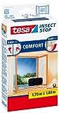 tesa Insect Stop COMFORT Fliegengitter für Fenster / Insektenschutz mit selbstklebendem Klettband in Anthrazit / 170 cm x 180 cm