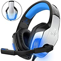 Gaming Headset for PS4 PC Xbox One Controller, DIZA100 V4 Stereo Sound Over Ear Gaming Headphones with Microphone ( Metal Aluminum Shell + LED Light ) for Computer Laptop Tablet Mac iPad