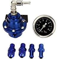 Tuneway Alto Rendimiento Combustible del Coche Calibrador de Presion Ajustable Regulador Presion de Combustible Azul